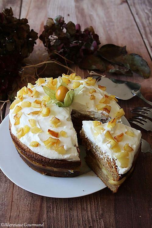 Layer cake pommes caramélisées chantilly coco sans gluten sans lait sans oeufs