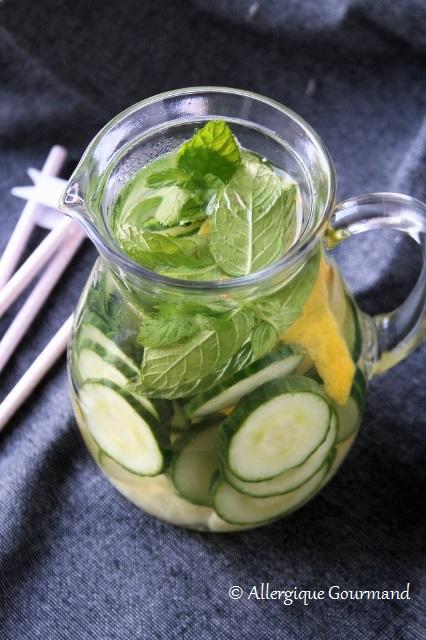 eau aromatisée concombre citron menthe