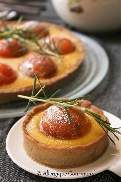 tarte curd melon romarin abricots sans gluten sans lait sans œufs