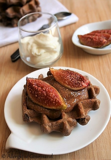 gaufres au cacao aux figues sans gluten sans lait sans oeufs