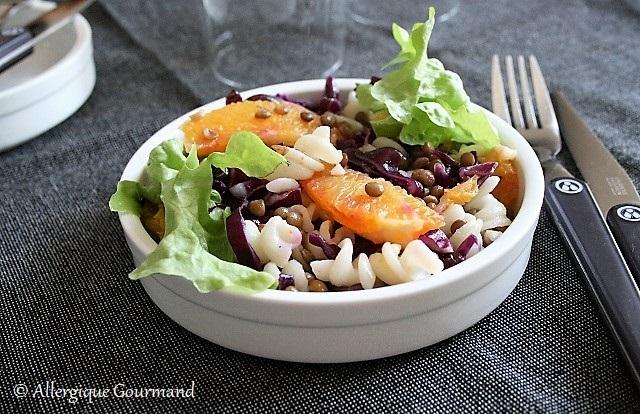 Salade de pâtes lentilles chou rouge orange sans gluten sans lait sans oeufs