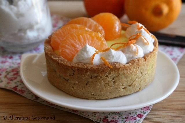 tartelettes crème bergamote clémentines sans gluten sans lait sans oeufs