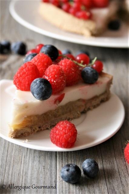 tarte à la crème verveine rhubarbe fruits rouges sans gluten sans lait sans oeufs