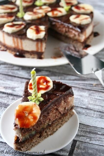Entremet à la banane ou cheesecake sans gluten sans lait sans oeufs