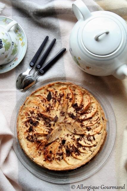 Tarte aux pommes et à la crème de pommes sans gluten sans lait sans oeufs