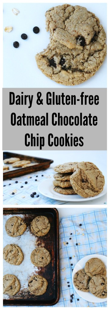 Dairy and Gluten-free Oatmeal Chocolate Chip Cookies Pinterest by AllergyAwesomeness.com