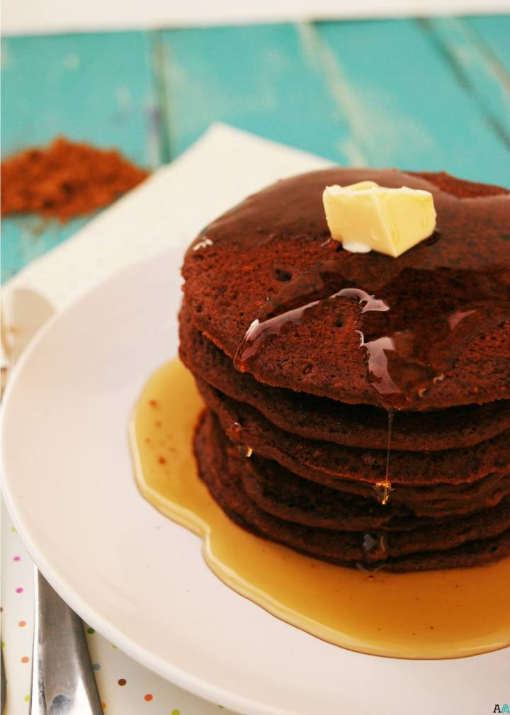 Chocolate Pancakes (GF, DF, Egg, Soy, Peanut/Tree nut Free, Top 8 Free, Vegan) copyright by Allergy Awesomeness