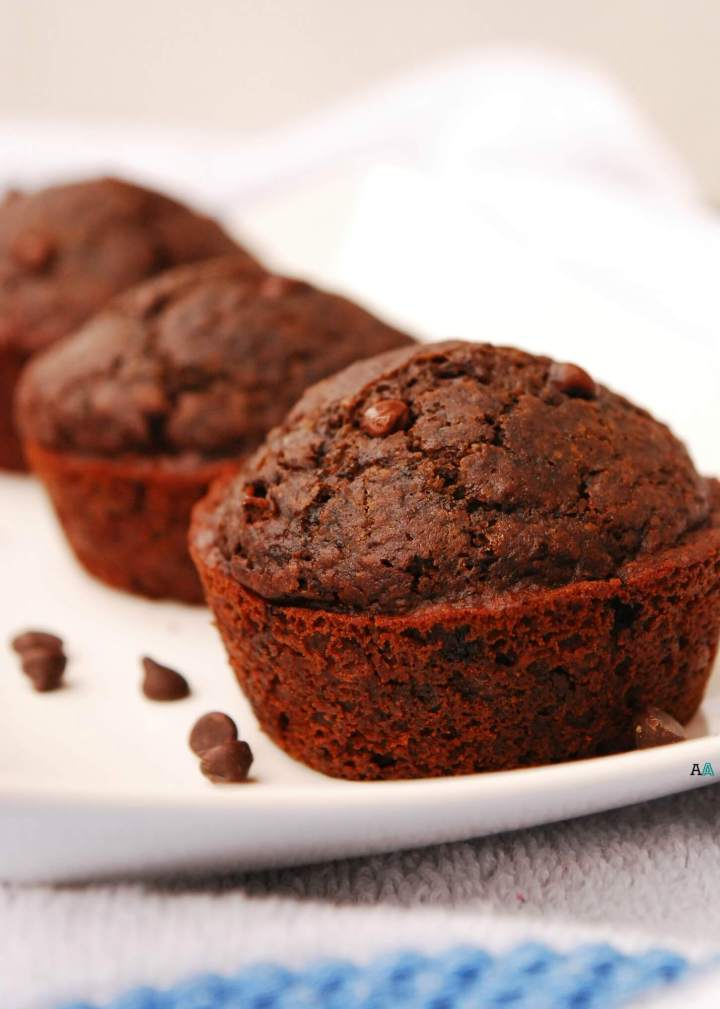 vegan and gluten-free double chocolate muffins