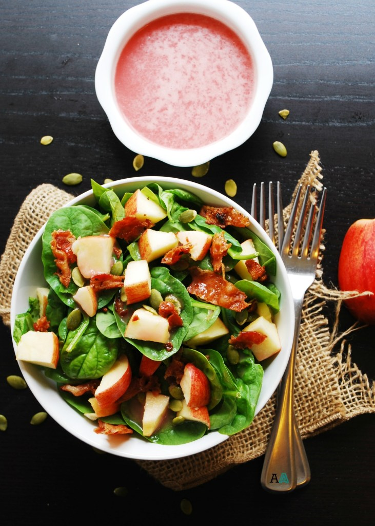 Apple, Bacon & Spinach Salad with Sweet Red Onion Vinaigrette (GF, DF, Egg, Soy, Peanut & Tree Nut Free, Top 8 Free) Recipe by AllergyAwesomeness.com