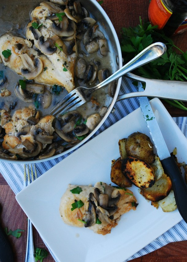 30 Minute Chicken & Mushroom Marsala (GF, DF, Egg, Soy, Fish, Shellfish, Peanut, Tree nut Free, Top 8 Free) Recipe by Allergy Awesomeness. A decadent yet easy dinner!