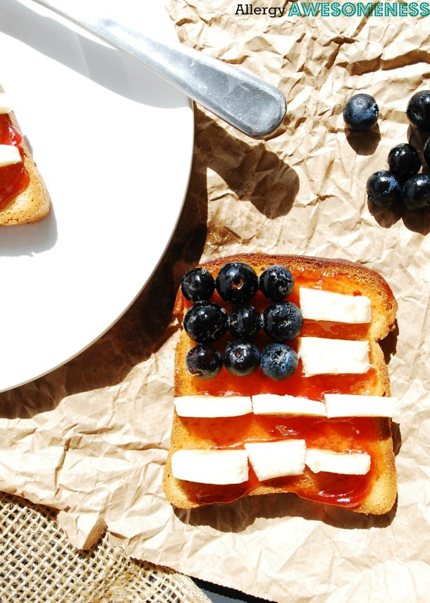 Patriotic Toast (Gluten, Dairy, Egg, Soy, Peanut, Tree nut Free, Vegan, Top 8 Free) Recipe by AllergyAwesomeness.com
