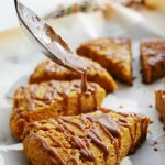 Pumpkin Scones with Spiced Glaze (Gluten, dairy, egg, soy, peanut and tree nut free; top 8 free; vegan) Breakfast recipe by AllergyAwesomeness.com