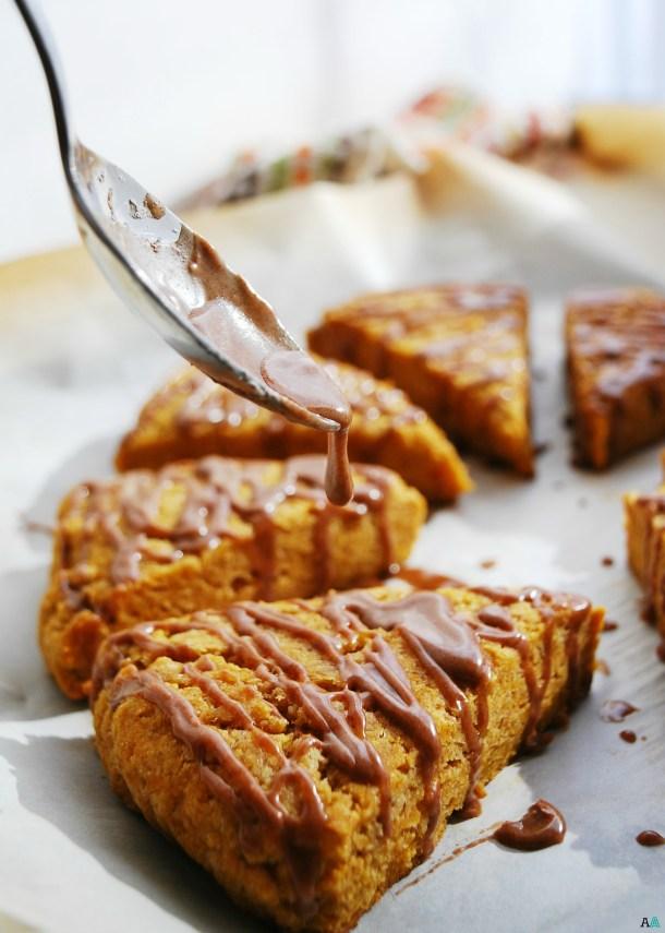 Pumpkin Scones with Spiced Glaze (Gluten, dairy, egg, soy, peanut and tree nut free; top 8 free; vegan) Breakfast recipe by AllergyAwesomeness.com