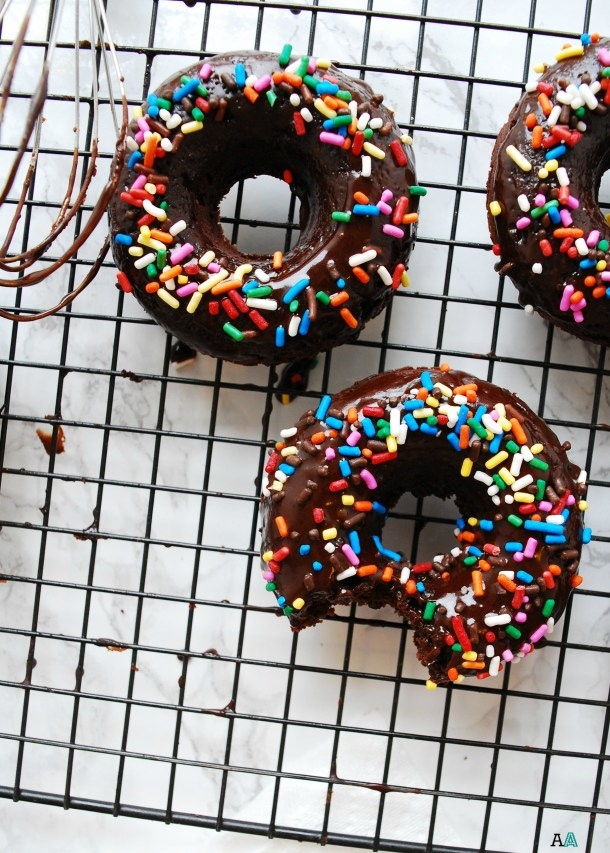 Gluten-free & Vegan Double Chocolate Baked Donuts (Gluten, dairy, egg, soy, peanut & tree nut free; top 8 free) Breakfast recipe by AllergyAwesomeness.com