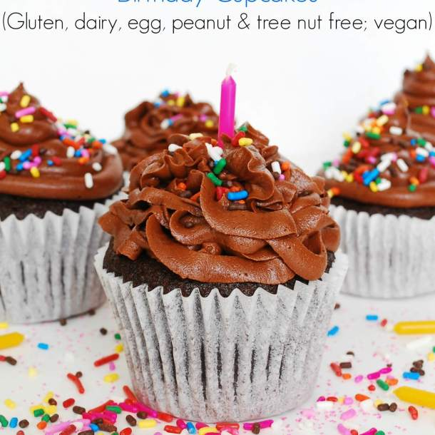 The BEST Allergy-friendly Chocolate Birthday Cupcakes