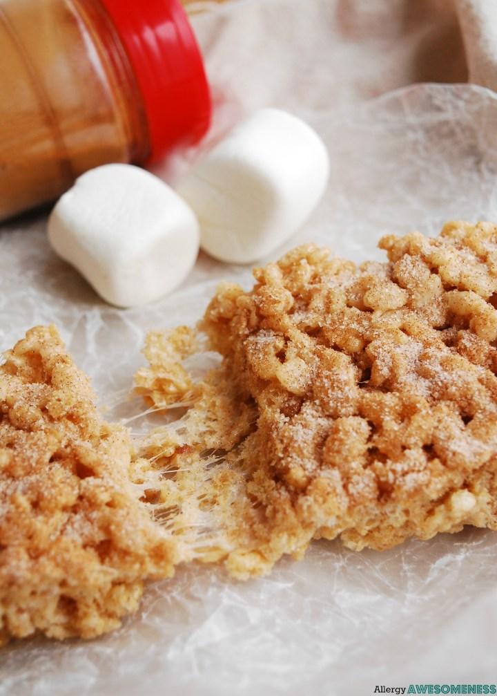 Gluten-free Snickerdoodle Rice Krispie Treats Recipe by AllergyAwesomeness