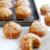 Spiced Pumpkin Muffins with Cinnamon Glaze (Gluten, dairy, egg, soy, peanut & tree nut free; top-8-free; vegan)