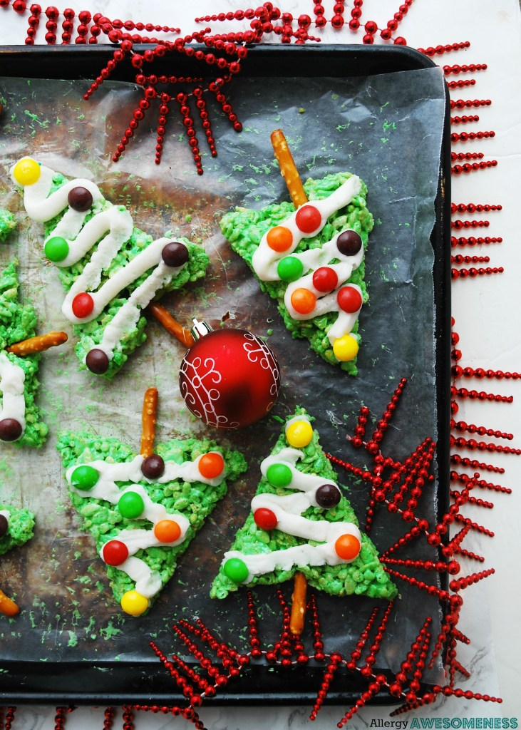 Allergy-friendly Rice Krispie Christmas Trees - Allergy Awesomeness