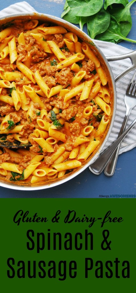 gluten and dairy-free spinach and sausage pasta recipe