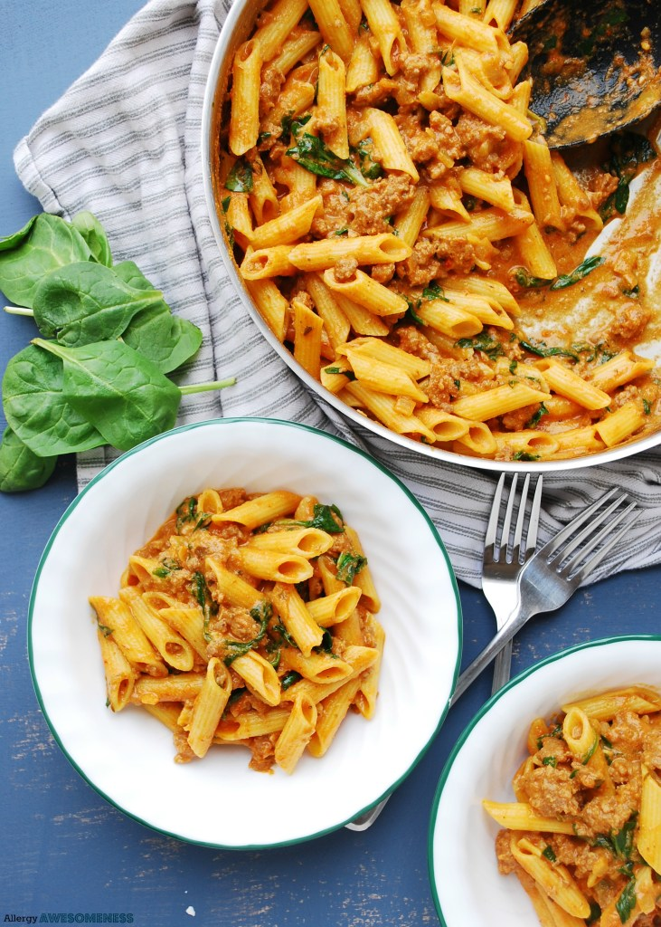dairy-free spinach and sausage pasta recipe