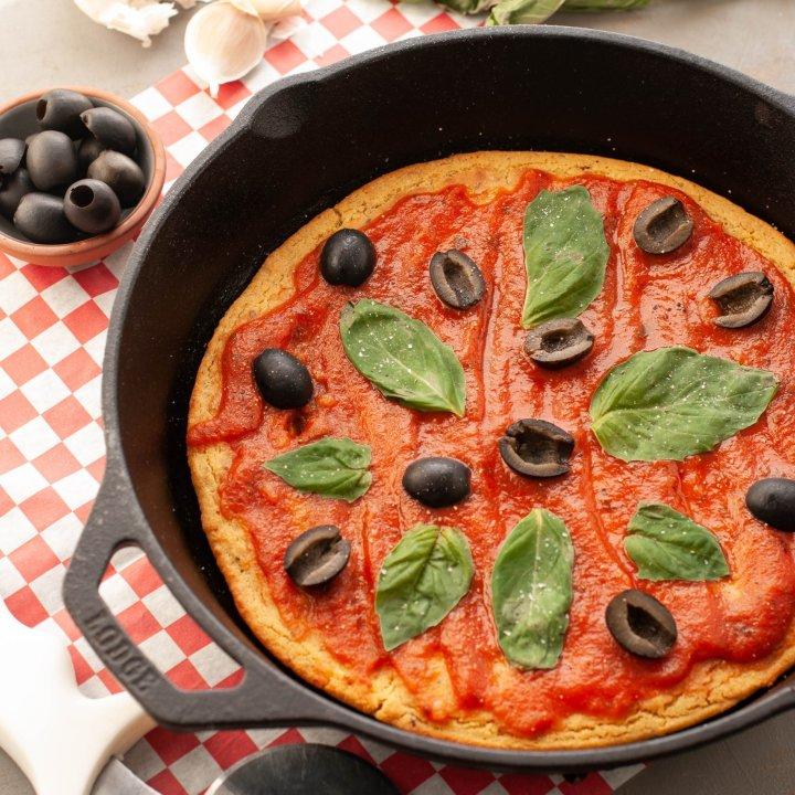 Grain-free, Gluten-free & Vegan Skillet Pizza (Socca)