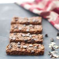 Chewy No Bake Chocolate Granola Bars (Gluten Free & Vegan Options)
