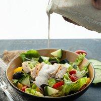 Greek Salad with Vegan Tzatziki Sauce
