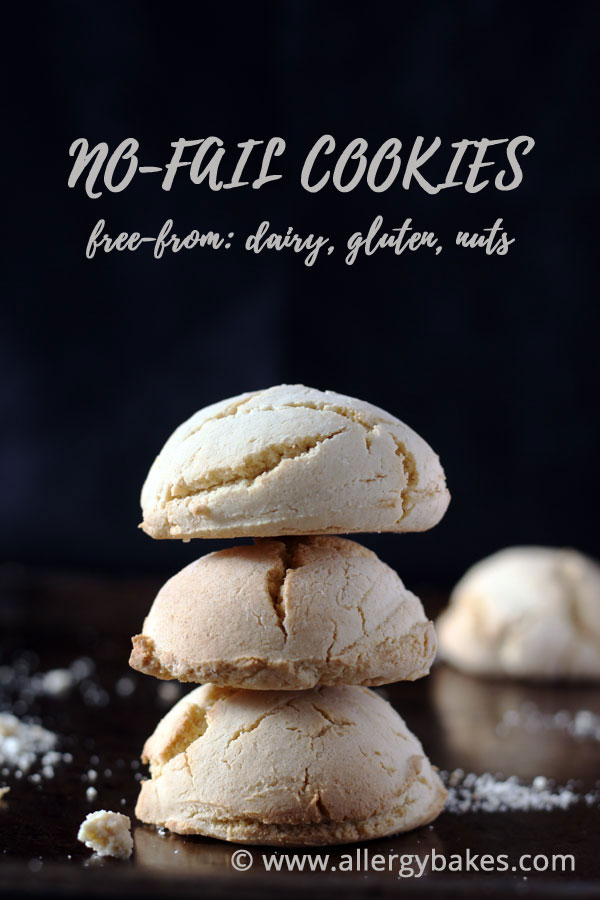 Dairy-free, gluten-free cookies stacked on top of each other.