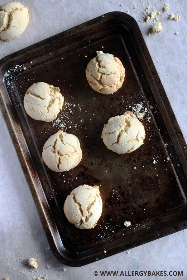 Gluten-free cookies on a tray.