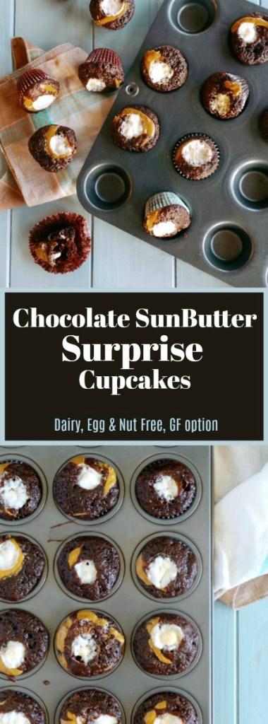 Chocolate Sunbutter Surprise Cupcakes