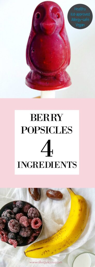 4 Ingredient, Allergy-friendly Berry Popsicles.  A delicious & healthy way to cool down this Summer