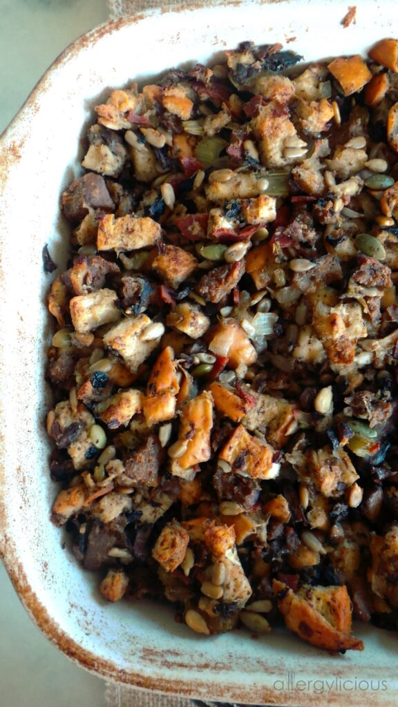 This is truly something to be thankful for! Our family favorite stuffing, made vegan & allergy-friendly