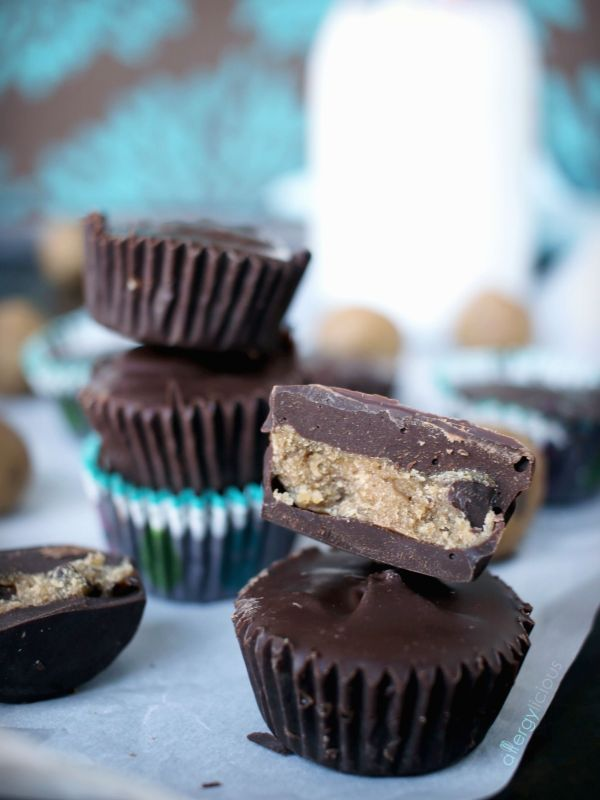 Raw, vegan cookie dough center in a delicious chocolate cup