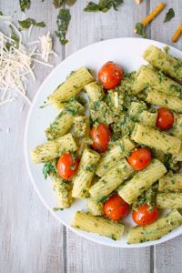 Next time you're craving pasta, try this healthier Rigatoni with a delicious, allergy-friendly, Kale & Pretzel Pesto. V,GF,NF