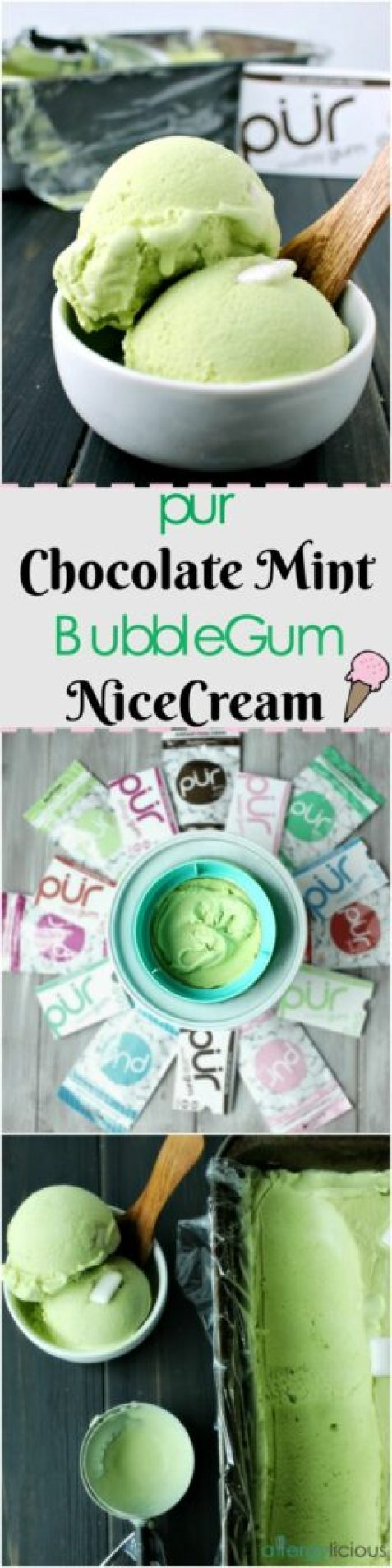 You won't believe this Chocolate Mint BubbleGum Nice Cream is actually healthy! Thanks to PUR gum and a few special ingredients.