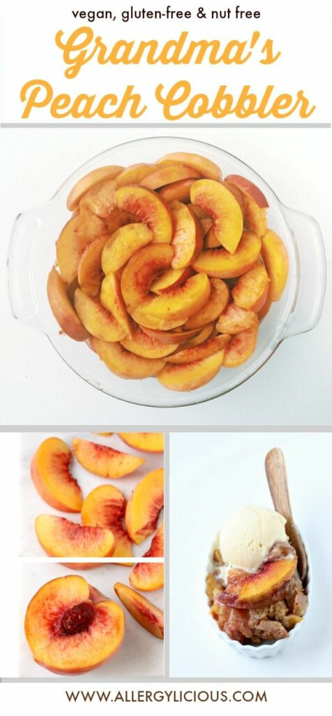 Everything is just peachy when you're eating a scoop of homemade peach cobbler. Grandma's recipe with an allergy-friendly twist.
