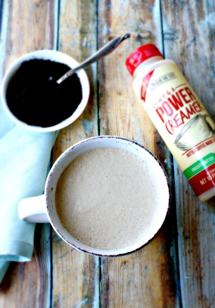 Make your own creamy, butter coffee, full of healthy fats with easy-to-use Omega Power Creamer.  Free from : Gluten, Lactose, Casein, Sugar & Carbs.