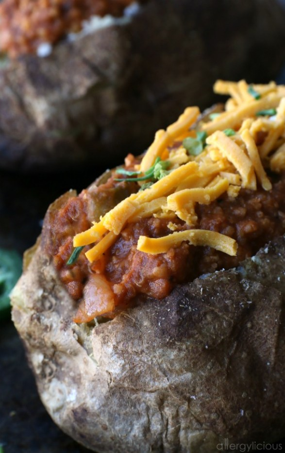 The delicious plant-based sauce is sweetened with dates to make it Whole30 approved then layered on perfectly seasoned baked potatoes.