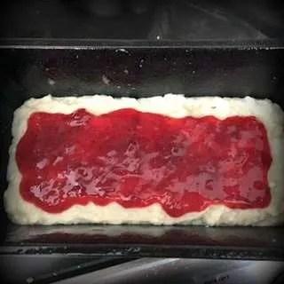 GF Vegan Strawberry Coconut Loaf Cake with Jam-min