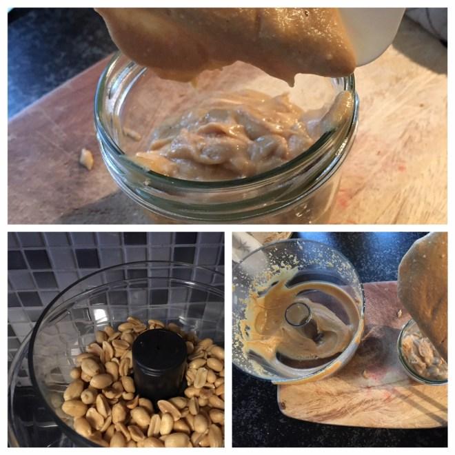 Nach ca. 4-5 Minuten in der Küchenmaschine entsteht eine cremig leckere Erdnussbutter
