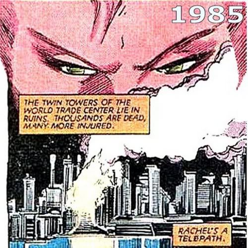 "1985 - X-Men-Comic mit der Sprechblase ""The Twin Towers of the World Trade Center lie in ruins. Thousends are dead, many more injured."" Auf deutsch: ""Die Zillingstürme des Welthandelszentrums liegen in Trümmern. Tausende sind tot, noch mehr sind verletzt."""