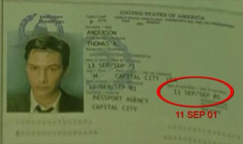 1999 In dem Spielfilm Matrix wird Neos Ausweis mit dem Ablaufdatum 11 Sep 01 gezeigt
