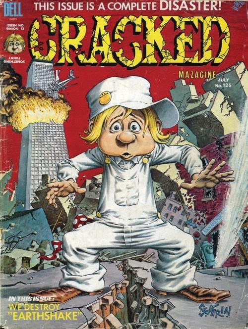 1975 - Cracked Magazin (Humor-Magazin ähnlich wie MAD) zeigt auf dem Cover ein Passagierflugzeug, dass in einem brennenden Wolkenkratzer steckt.