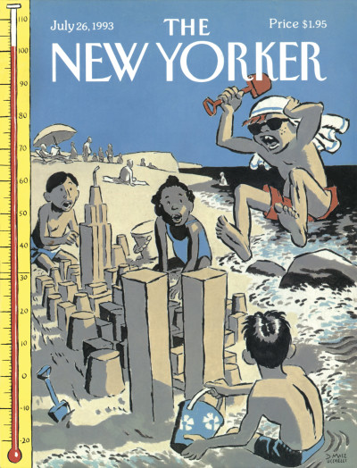 1993 - Titelbild des amerikanischen Magazines The New Yorker. Ein als Araber verkleideter, wütender Junge springt in hohem Bogen auf die WTC-Sandtürme.
