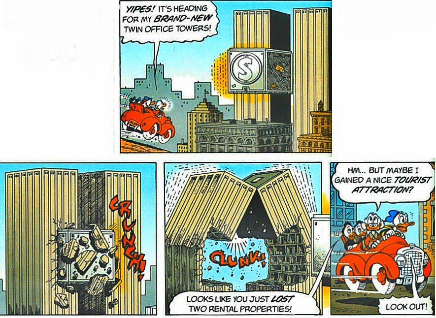 1997 - Donald Duck Comic. Eine Geldkiste fliegt in Zwillingstürme.