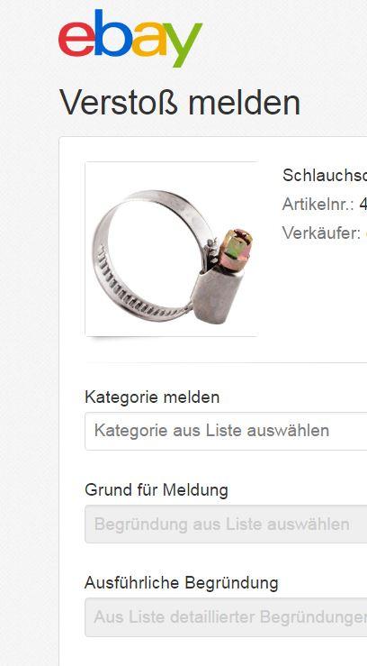 Artikel melden auf Ebay.