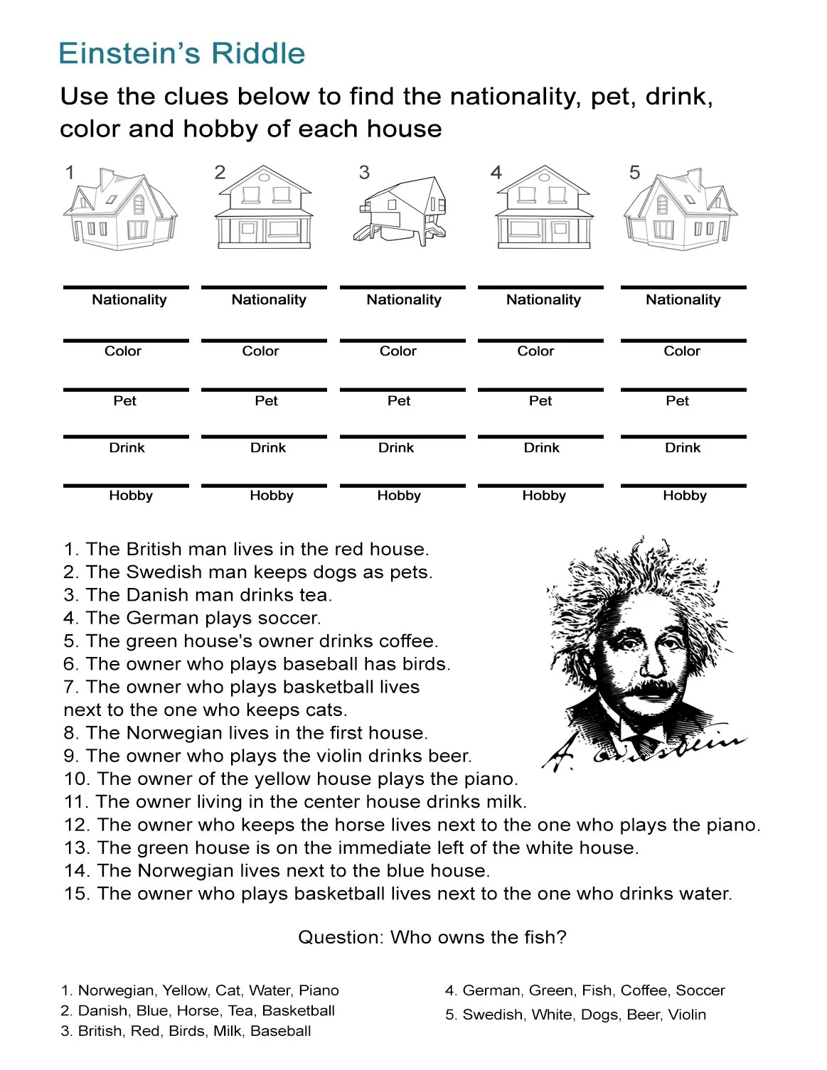Einstein S Riddle Detective Style Logic Activity