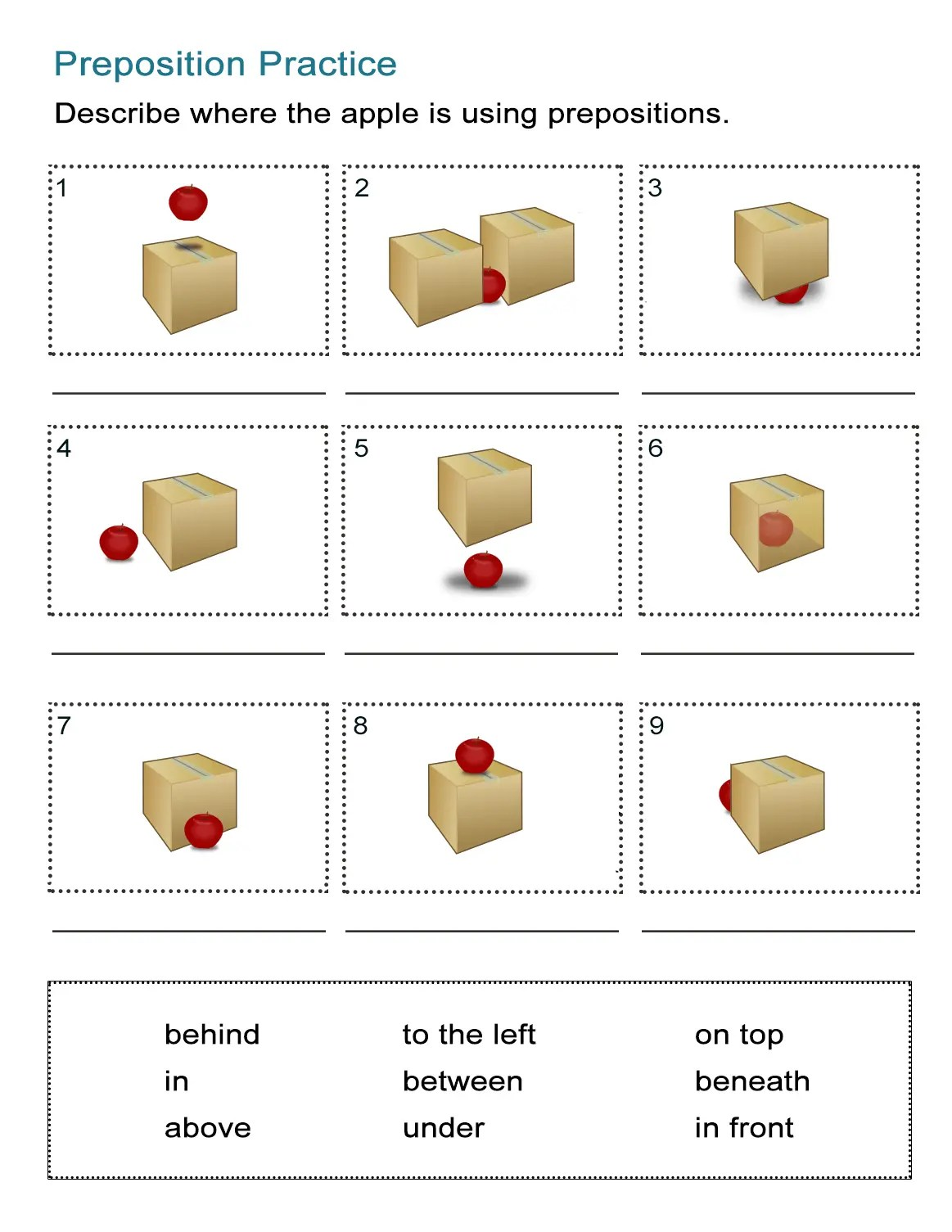 Printable Prepositions Worksheet High School