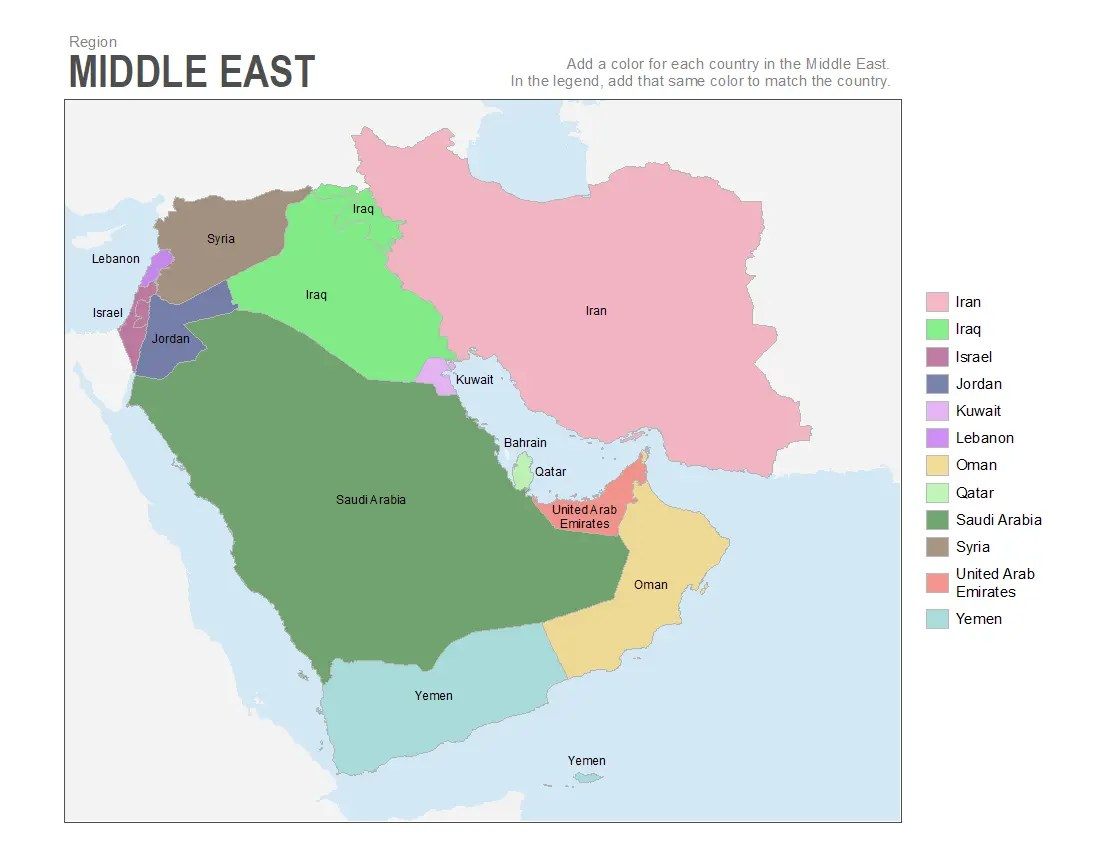 Middle East Map Labeled Worksheet