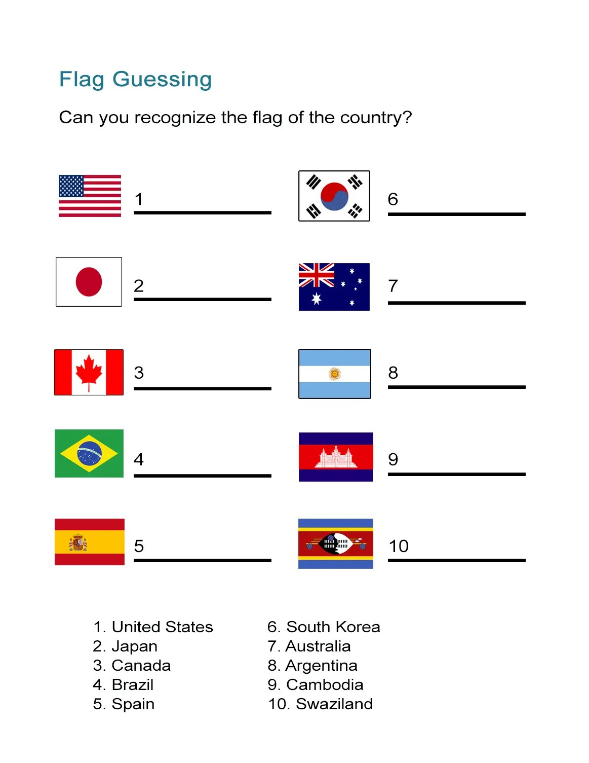 Flags Of The World Printable Worksheets